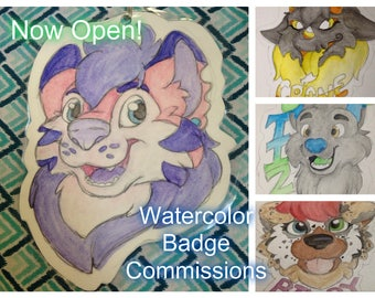 Winter sale! Watercolor Fursona Badge Commissions