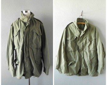 Army Military 70s Anorak Jacket Vintage Green Heavy Winter Field Coat Mens Large Hippie Boho Hoodied Heavy Outerwear 1970s Grunge Hipster