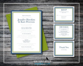 Simple Elegant Printable Wedding Invitation - Rumi Poem Invitation - Navy Blue, Olive Green Invitation - Custom Colors