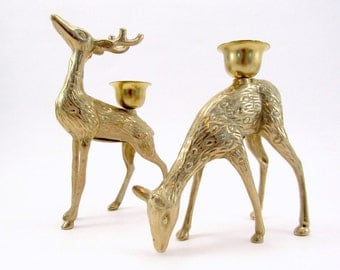 Vintage Brass Deer Candle Holders, Christmas Around The World, House of Lloyd