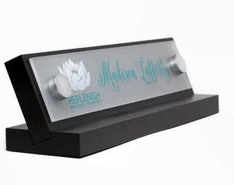 Office Name Plate: Personalized Wood Desk Sign and Acrylic Makes a Great Father or Mothers Day Gift 10x2.5