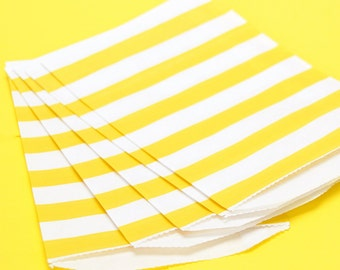 Yellow Wide Stripe Paper Bags