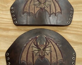 Leather Armor Hand Carved Dragon Bracers Cuffs IN STOCK