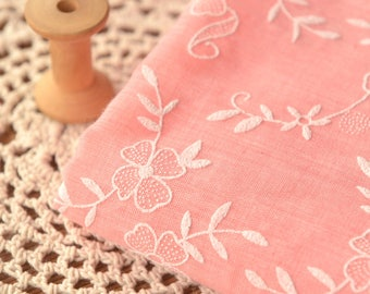 Pink Floral Gauze Fabric, Poly Cotton Fabric Sold by Half Metre MJ695