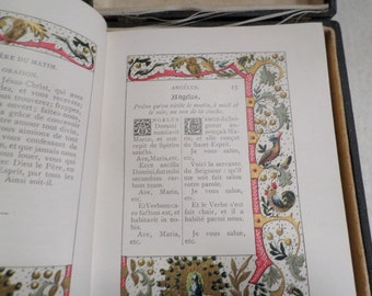 """Antique Religious Book French """"Missel Romain"""" with case  v654"""