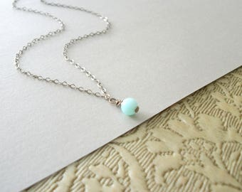 14K Gold Filled Opal Necklace Womans Delicate Tiny Whisper Necklace Simple Style Light Sea Foam Blue Opal Gold Filled Chain