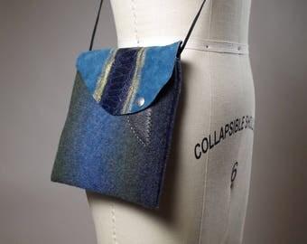 Ombre Cashmere Small Bag - Cashmere and Leather Mini purse - Mini Leather Bag - Women's Accessories