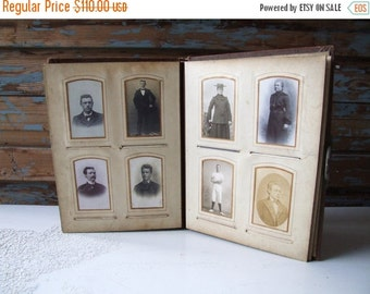 SALE Big antique photo album filled with photos cabinet cards