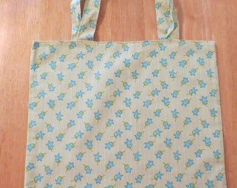 Cotton Grocery Tote, Blue and Green Floral