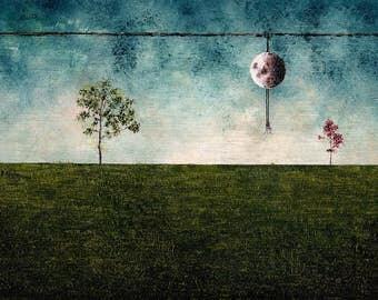"Art Oil Painting // Nature - moon - dancer // ""Summer"""