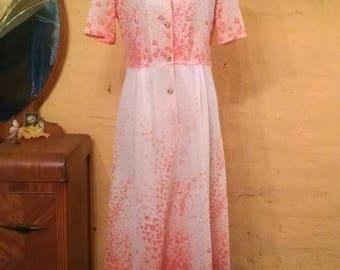 Pretty Orange Blossoms Vintage Japanese Dress S