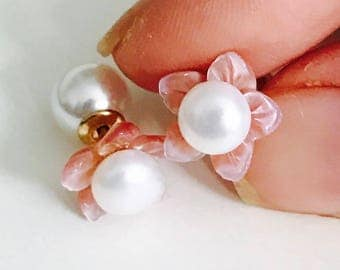 July birthstone pearl studs, pearl and natural pink mother of pearl