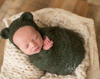 Alpaca Newborn Hat and Wrap, Newborn blanket and bonnet, Knits wrap, Knits bonnet, Mohair outfit, Newborn Stretch Wrap, Newborn Photo Prop