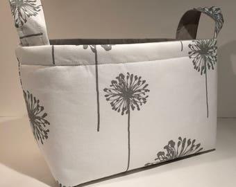Fabric Storage Basket Bin Organizer Storage Container- Gray Dandelions on White with Solid Light Gray Interior