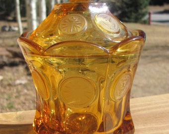 Vintage Amber Fostoria Coin Glass Candy Dish with Lid