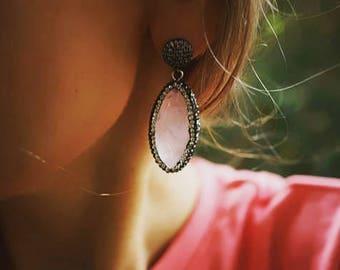 Pansy - Pristine Rose Quartz and Rhinestones Statement Earrings