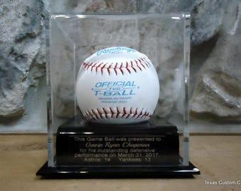 Baseball Display Case, Baseball Game Ball Display Case, Baseball Trophy, T-Ball Display Case, Sponsor Appreciation Gift