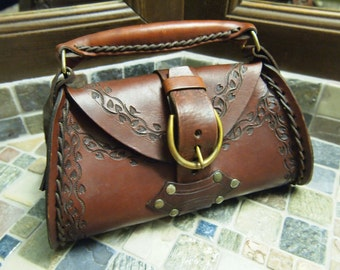 """Vintage Purse / Handbag - Hand Tooled Leather - Aged Brass Metal Buckle Closure - Brass Rivets - 12"""" width x 8"""" height x 6"""" Gusset"""