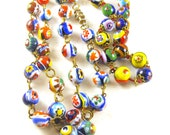 Vintage Millefiore Bead Necklace Bracelet Set Colorful Murano Glass Beaded Jewelry Set
