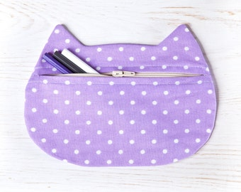 Dotted Pencil Case, Purple Cosmetics, Violet Cat Toiletries Bag, Purple Bridesmaid Gift, Beauty Bag, Makeup Pouch, Zipped Purse, Mom Gift