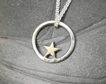 Complete Star - 9ct gold star pendant - minimalist, modern, wedding jewellery, made in uk