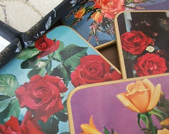 Pretty Vintage Floral Coasters complete with case