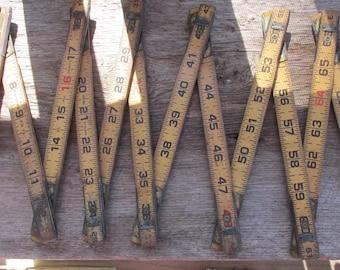 Vintage Wooden Yardstick, Foldout Yardstick, Expandable Ruler