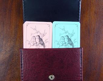 Vintage Card Patience Card Set in Original Case, Mid Century birds card decks in faux leather case