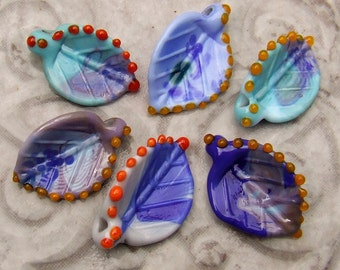 Lampwork Glass Leaves for Jewelry Making, Set of 6 leaf beads in shades of Blue and Violet, Ready to Ship