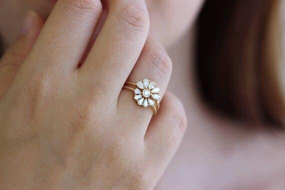 Bridal Wedding Ring Set Pear Diamond Cluster Cut Crown Petals