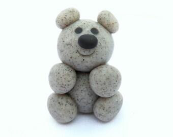 Teddy Bear Sculpture, Miniature Handmade Polymer Clay Stone Animal Figurine
