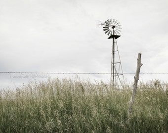 Windmill Wall Decor, Rustic Farmhouse Style, Country Home Decor, Landscape Photograph, Living Room Wall Art, Farm | 'Calm Before The Storm'