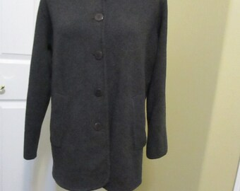 Donna Karen sweater jacket size Small wool jacket charcoal gray vtg 90's