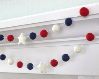 Fourth July Garland- Red White Blue Felt Balls & Stars- Pom Pom - Holiday- Party - USA- Americana Decor