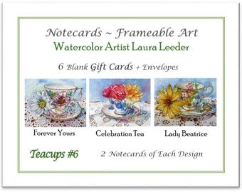 Teacup Series #6 - 6 Blank Notecards, Party Favors