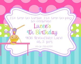 Gymnastics Birthday Party invitations- tumbling party invitations-printable or digital file-- DIY- ANY COLORS
