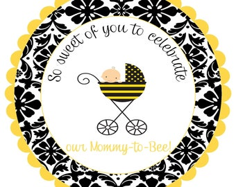 Bee Bumblebee bumble bee Round Labels Stickers for party favors, gift tags, or address labels