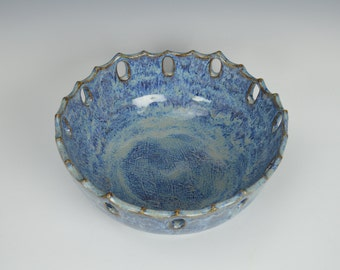 Stoneware fruit bowl, carved ceramic bowl, pottery serving bowl, blue decorative bowl