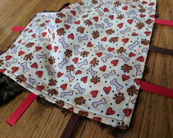 Baby Tag Blanket - Puppy Paw Prints - White Brown Red - Gender Neutral - Ready to Ship