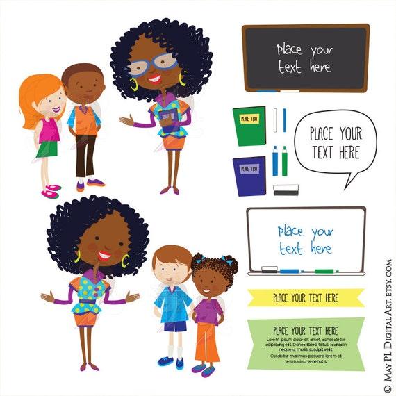 Cute Teacher Children Clipart Listen School Clip Art African