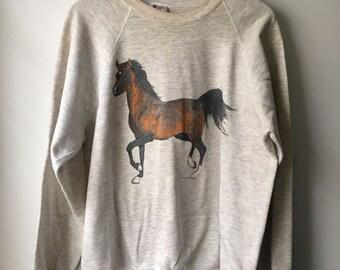 Vintage Crewneck Sweatshirt, Horse Graphic  Soft, Worn In, Cozy, 1990s 90s LEE, Hipster, Boho, Animals