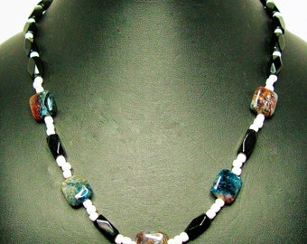 Blue and Brown Semi-Precious Kyanite and Black Tube Beaded Necklace - Item 302
