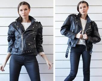 Vintage black heavy real leather oversize shoulders biker grunge motorcycle style asymmetric zip jacket coat M