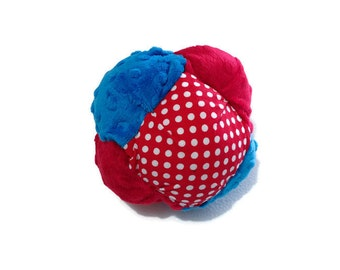 Plush Toy Bisket Ball for Babies or Toddlers with Rattle or Jinglebells inside - Soft Toy - Red and Blue Toy - Ready to Ship
