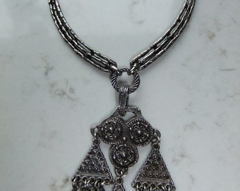 Vintage Astri Holthe pewter necklace - Norway - Signed - Nordic art style