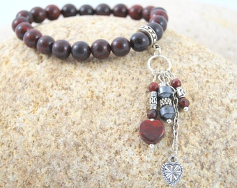 Blood Red Jasper 8mm Stretchy Bracelet with Long Dangle Accent Charms