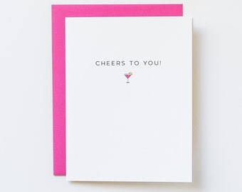21st Birthday Card, Martini Card, Birthday for Her, Martini Celebration Card, Cheers to You Card, Congratulations Card for Friend