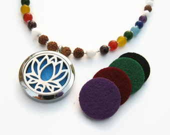 """Lotus Diffuser Necklace,  23"""" Essential Oil Diffuser 7 Chakra Gemstone Necklace, Bodhi Seed Necklace, Locket Mala Necklace, READY To SHIP"""