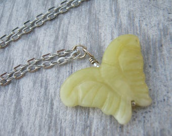 Jade Butterfly Necklace, Yellow Jade Gemstone Pendant, Nature Pendant, Butterfly Jewelry, Choose Length, Silver Tone, CA13