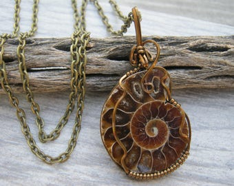 Ammonite Fossil Necklace, Nautilus Spiral Pendant, Antique Brass Wire Wrapped Pendant, Root Chakra Pendant, Fibonacci, READY To SHIP AM1